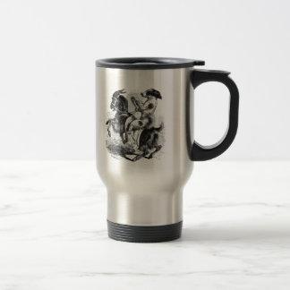 Dog Riding a Goat Travel Mug