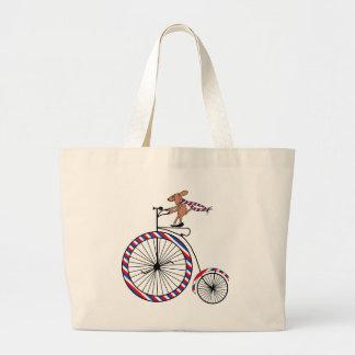 Dog Riding Old-Fashioned Bike on Jumbo Tote Bag