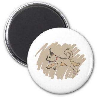 Dog Romping Happily 6 Cm Round Magnet