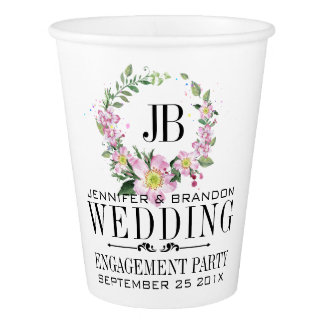 Dog-Rose Wreath Paper Cup Wedding Template