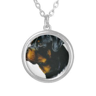 dog-rottweiler round pendant necklace