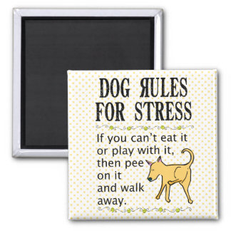 Dog Rules for Stress Square Magnet