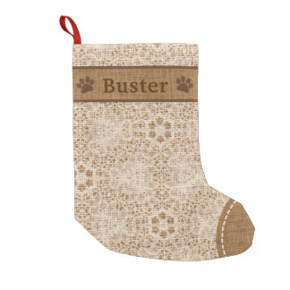 Dog Rustic Burlap & Lace Snowflake Personalized Small Christmas Stocking