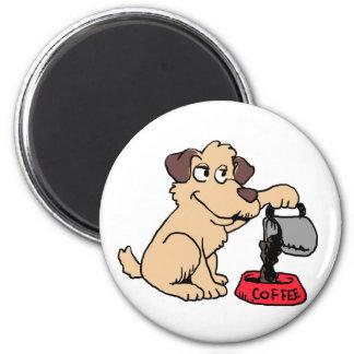 Dog serving coffee magnet