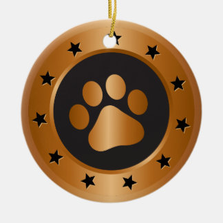 Dog show winner bronze medal ceramic ornament