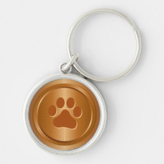 Dog show winner bronze medal key ring