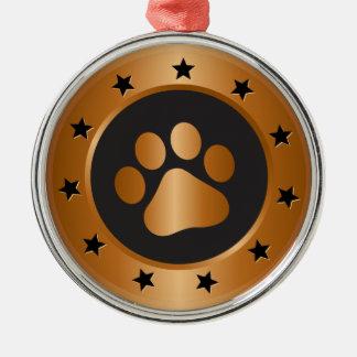 Dog show winner bronze medal metal ornament