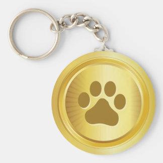 Dog show winner gold medal basic round button key ring