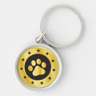 Dog show winner gold medal key ring