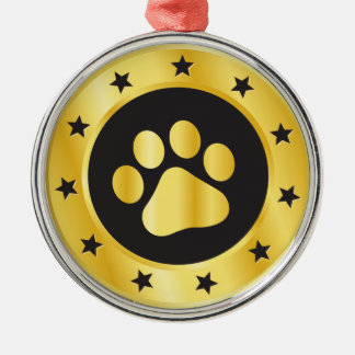 Dog show winner gold medal Silver-Colored round decoration