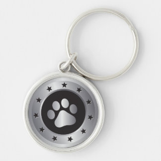 Dog show winner silver medal key ring