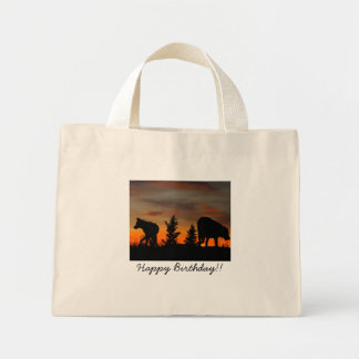 Dog Silhouette at Sunset; Happy Birthday Mini Tote Bag
