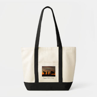 Dog Silhouette at Sunset; Happy Father's Day Impulse Tote Bag
