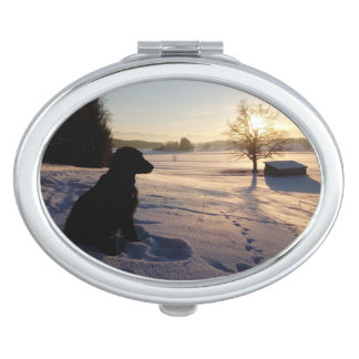 Dog Silhouette in Snowy Landscape Compact Mirrors