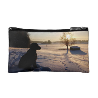 Dog Silhouette in Snowy Landscape Cosmetic Bag