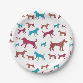 Dog Silhouette Plates 7 Inch Paper Plate