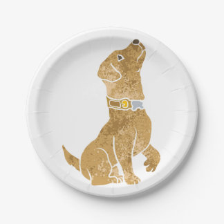 dog sitting. adopt a pet. 7 inch paper plate