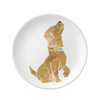 dog sitting. adopt a pet. porcelain plate