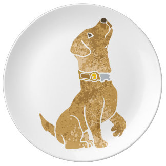 dog sitting. adopt a pet. porcelain plates
