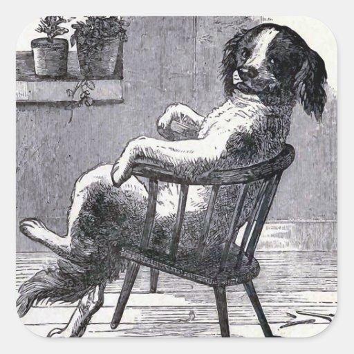 """Dog Sitting in a Chair"" Illustration Sticker"