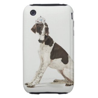 Dog sitting with a tiara on head tough iPhone 3 cover