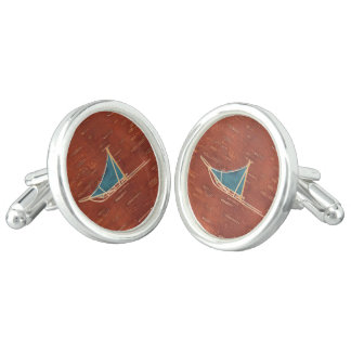 Dog Sled On Inner Birchbark Cuff Links
