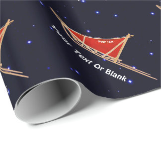 Dog Sled On Stars Wrapping Paper