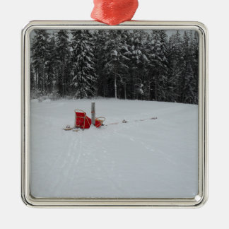 Dog sled Silver-Colored square decoration