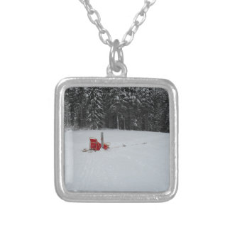 Dog sled silver plated necklace