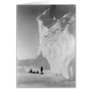 Dog Sled Team Resting by Iceberg Greeting Card