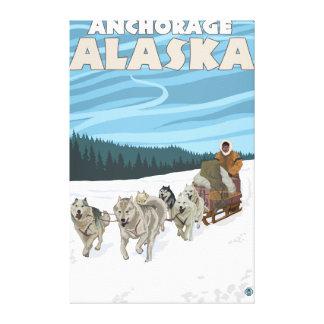 Dog Sledding Scene - Anchorage, Alaska Stretched Canvas Print