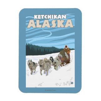 Dog Sledding Scene - Ketchikan, Alaska Magnet