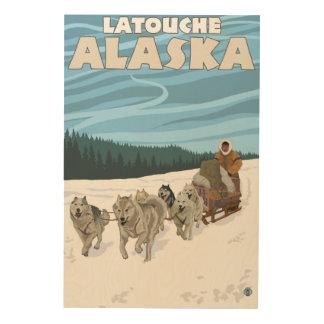 Dog Sledding Scene - Latouche, Alaska Wood Canvases