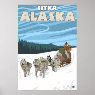 Dog Sledding Scene - Sitka, Alaska Poster