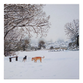 Dog snow scene landscape with trees painting