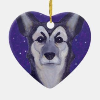 Dog Star Ceramic Heart Decoration