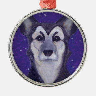 Dog Star Silver-Colored Round Decoration