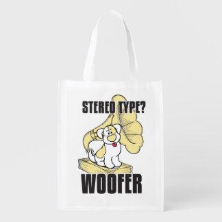 Dog stereo reusable grocery bag