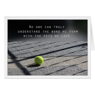 Dog Sympathy Card Tennis Ball on Porch
