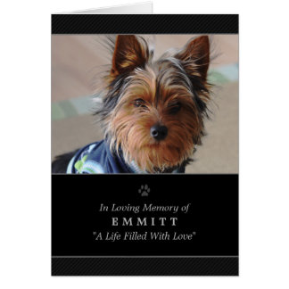 Dog Sympathy Custom Photo Memorial Card - Black