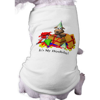 Dog T-Shirt: It's My Birthday! Sleeveless Dog Shirt