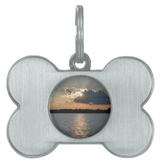 dog tag with photo of silver-lining sunset pet ID tags