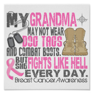 Dog Tags Breast Cancer Grandma Posters