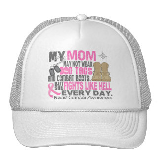 Dog Tags Breast Cancer Mom Mesh Hats