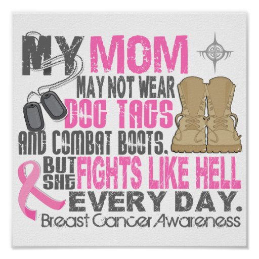 Dog Tags Breast Cancer Mom Poster