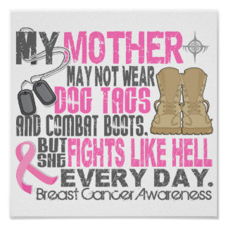 Dog Tags Breast Cancer Mother Poster