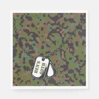Dog Tags Soldier Joe GI Camouflage Party Napkins Disposable Napkins