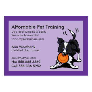 Dog Trainer Pet Training Border Collie Purple Pack Of Chubby Business Cards