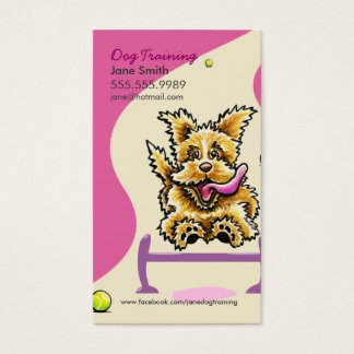 Dog Trainer Training Active Terrier Pink Business Card