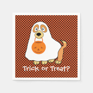 Dog Trick or Treat Cocktail Paper Napkins